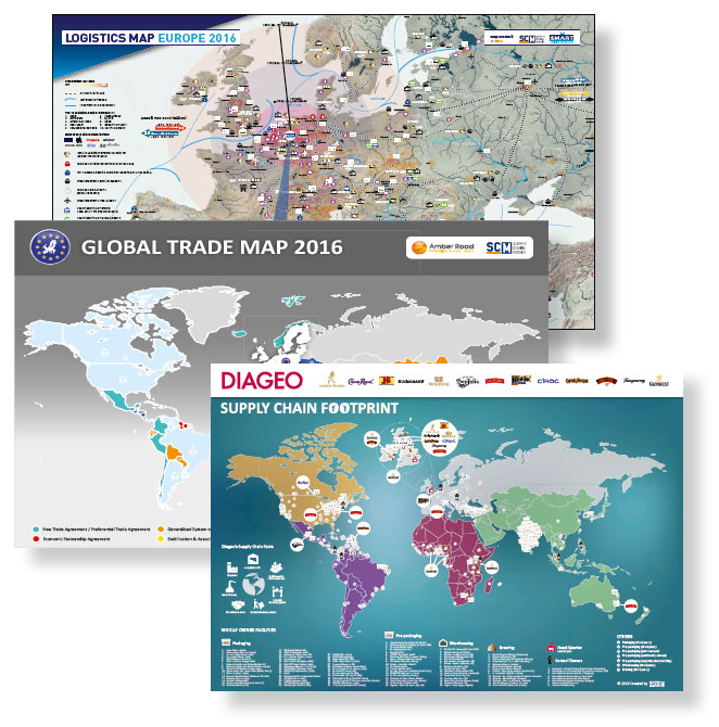 Map Europe 2016.Customized Map Supply Chain Media